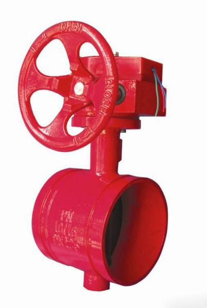 蜗轮式沟槽信号蝶阀 成都汇万源消防器材 成都沟槽,,.图片