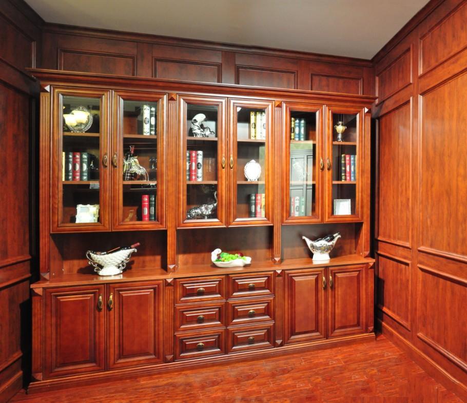 实木书柜1 重庆德萨实木家具厂 重庆实木柜橱柜衣柜重庆实木酒柜重庆