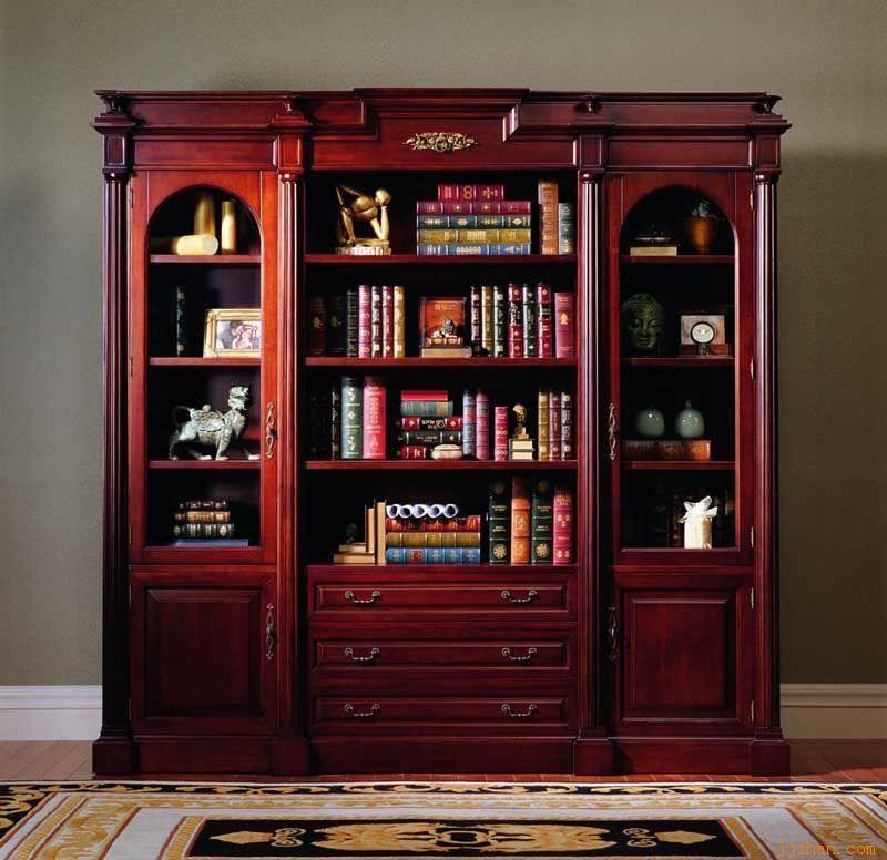 实木书柜4 重庆德萨实木家具厂 重庆实木柜橱柜衣柜重庆实木酒柜重庆
