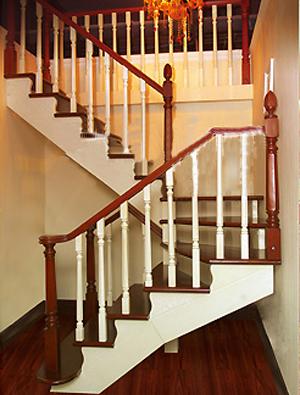 实木直梯06 呼和浩特地板,楼梯,橱柜,整体家装一条龙