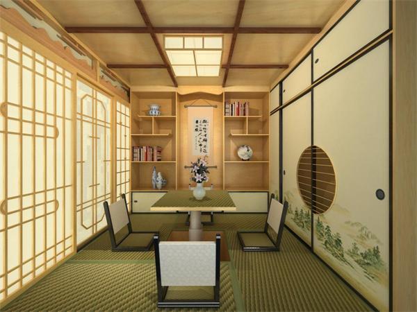 日本书房手绘效果图