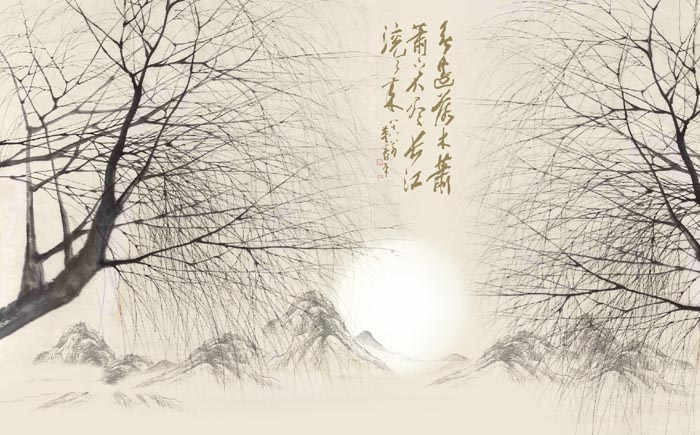 山水画-复古水墨山水-上诚尚美大型壁画