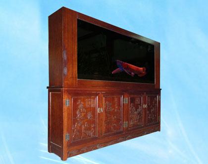 实木雕刻鱼缸屏风隔断
