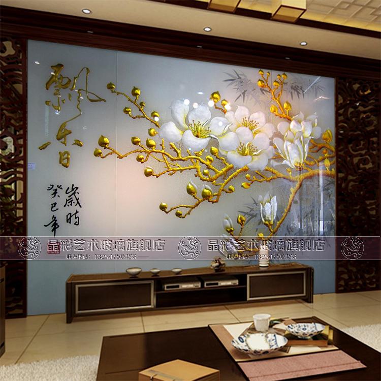 艺术玻璃电视沙发背景玻璃墙 现代简约大气 钢化雕刻金箔 飘香