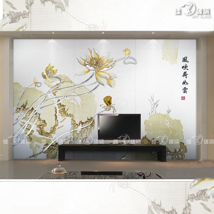 艺术玻璃背景墙 电视 沙发餐厅背景 雕刻上色 现代 风