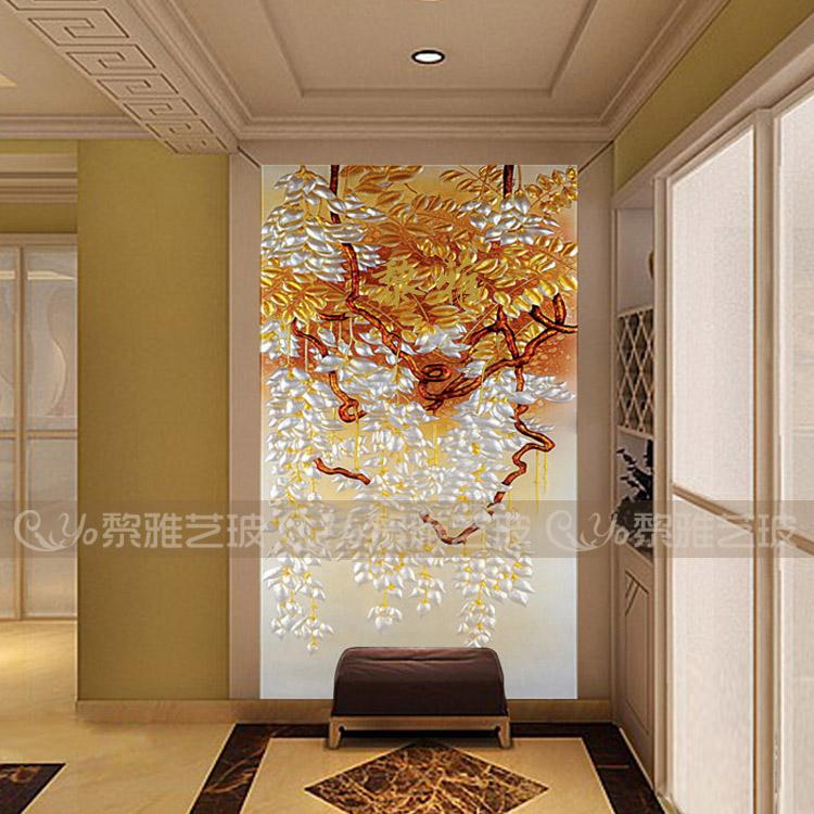 艺术玻璃 玄关深雕 现代 简约 隔断 黎雅 雕刻工艺 叠翠流金