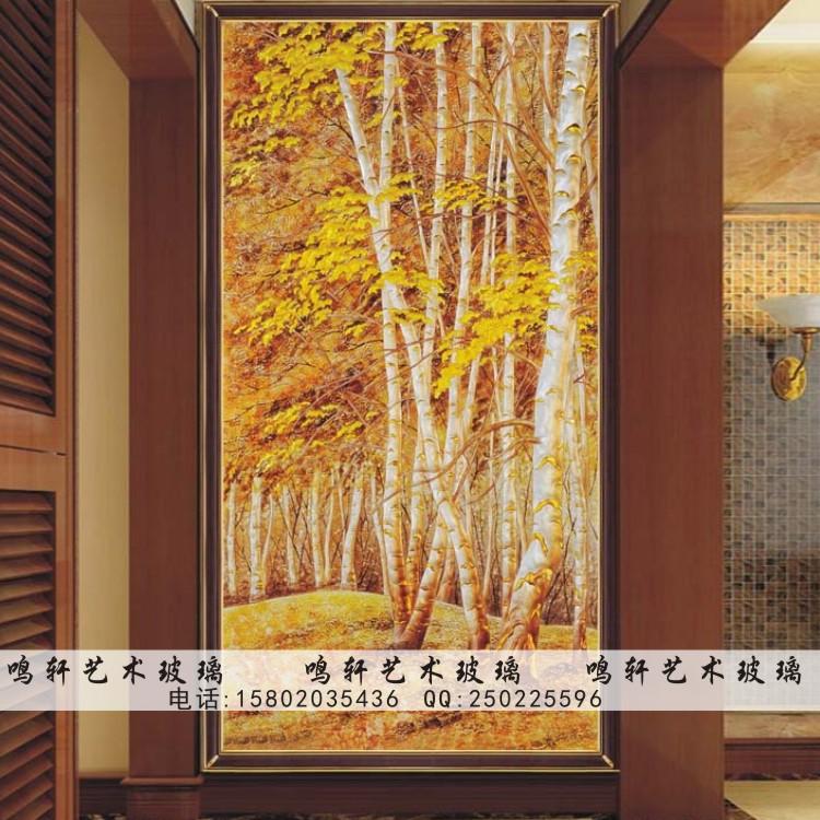 现代风格背景墙玄关屏风 艺术玻璃