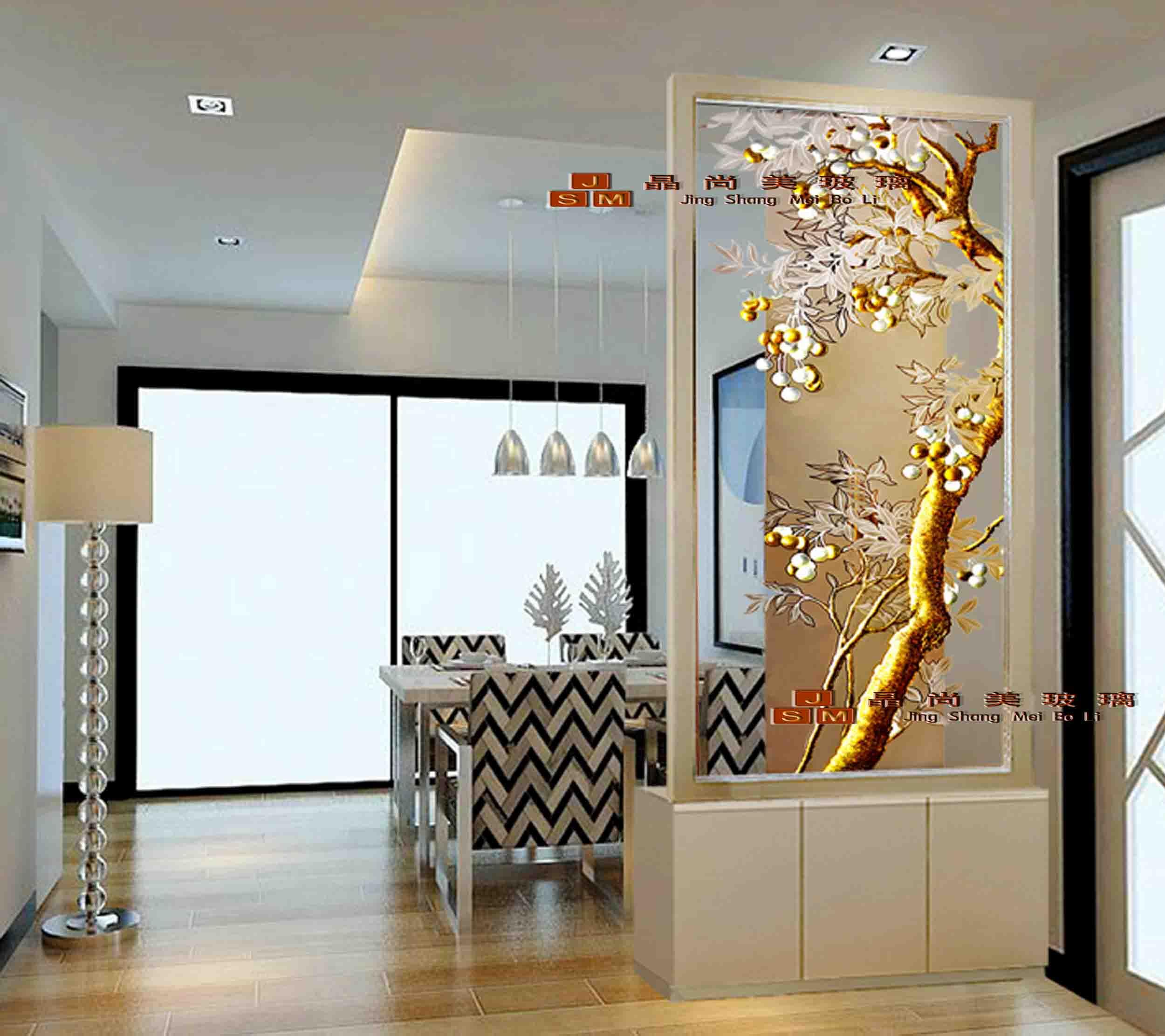 黄金色深雕欧式艺术玻璃背景墙