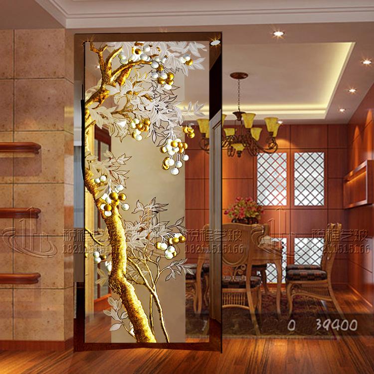 正品艺术玻璃 屏风隔断玄关背景墙 深雕钢化工艺 招财