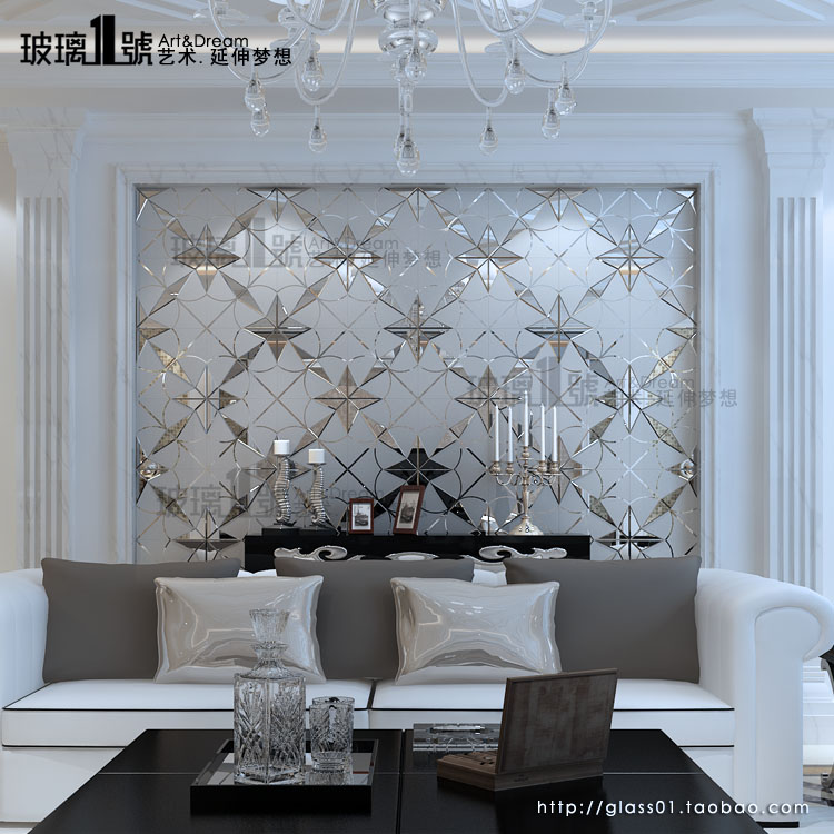 现代简约 艺术玻璃 拼镜 客厅 餐厅背景墙 影视墙 珠光璀璨