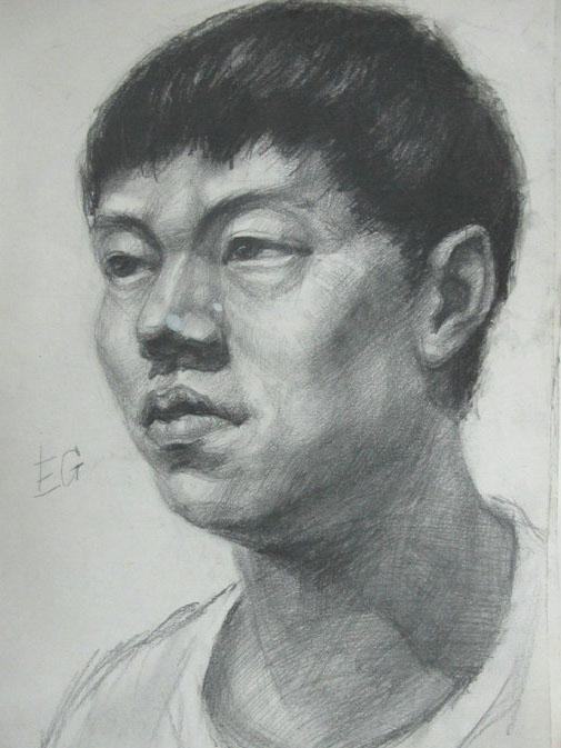 人物头像素描03 呼和浩特画室丨呼和浩特绘画培训丨