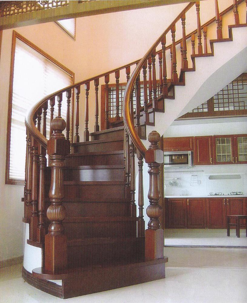 实木楼梯006 河南郑州实木楼梯丨实木扶手丨钢木楼梯
