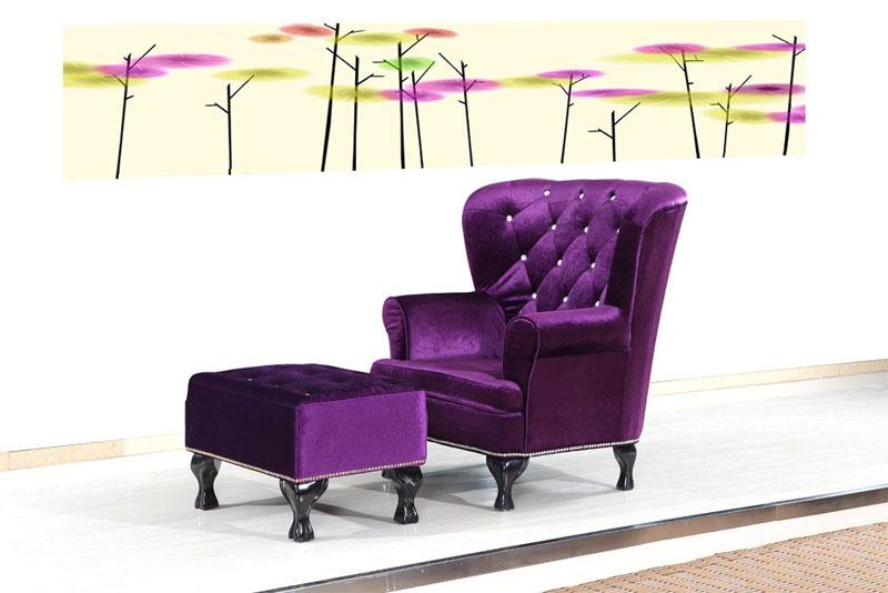 紫色带脚踏椅沙发/hl-s02-1