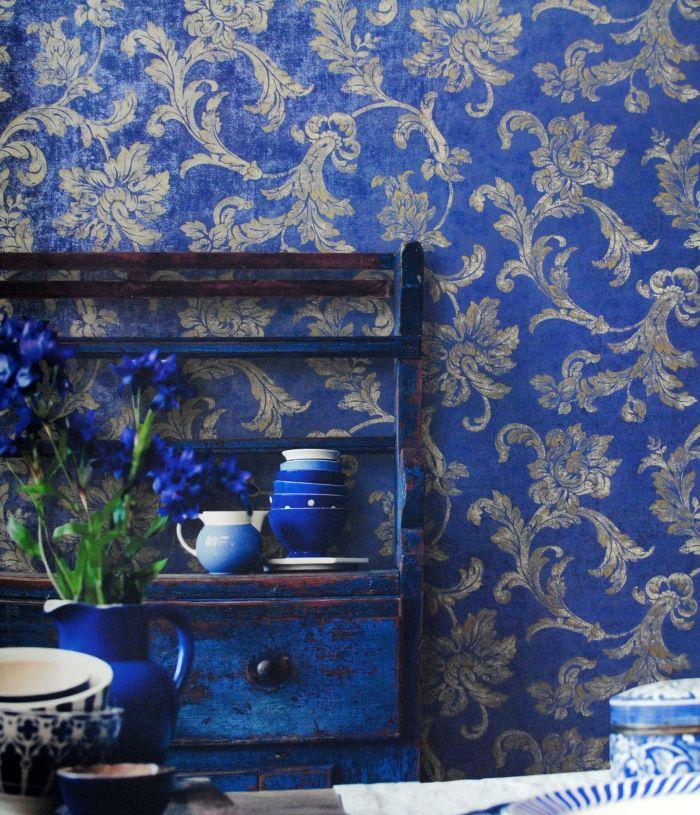 美式深蓝色花纹壁纸贴图